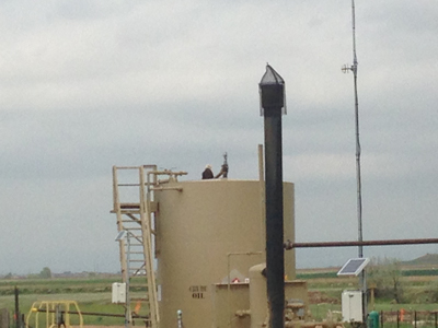 Two eagles resting on a tank battery, 05.21.14